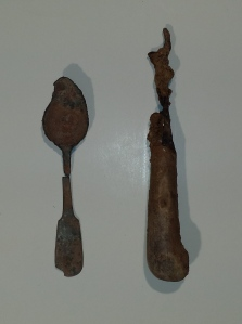 Pewter spoon and two-tine fork with bone handle