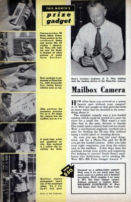 A.D. Weir and Photo-Pac camera featured in Mechanix Illustrated, September 1949.