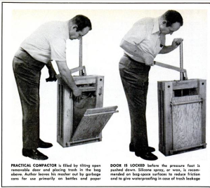 """Trash Compactor from a Kit,"" Mechanix Illustrated, October 1, 1972. Recognizing their readers would not likely have the finances for a pre-made compactor, Mechanix Illustrated offered directions to make this version at home for a mere $15 in raw materials."