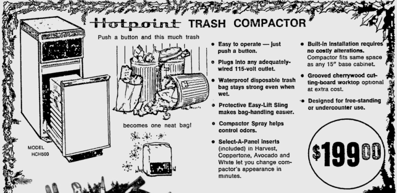 """Hotpoint Trash Compactor."" Reading Eagle, December 15, 1974."