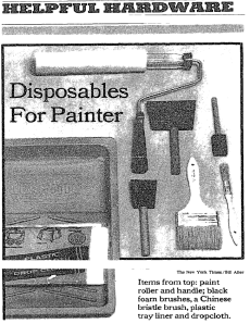An article by Daryln Brewer touted the wide variety of throwaway products available to amateurs and professionals. Newspaper clipping. The New York Times. 11 October 1984. search.proquest.com