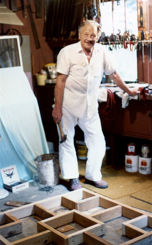 Richard Wilkens in his garage, with plenty of tools from which to choose, Bowling Green, Ohio. Photograph. Ca. 1980. The Wilkens Family Collection.