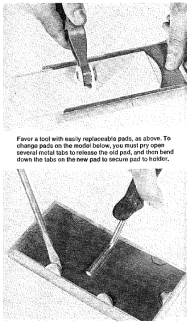 Painting pads with replaceable heads attracted the attention of consumers and home-improvement reviewers during the DIY era. Periodical clipping. Consumer Reports 38. January 1973.