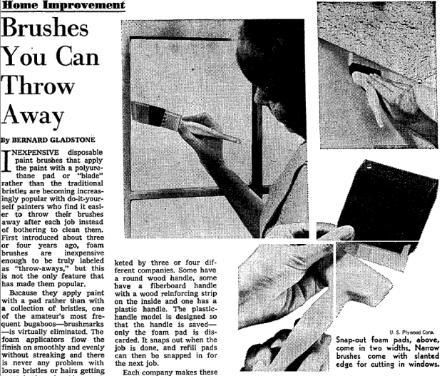 Newspapers and magazines became important sources of information for do-it-yourself painters in the postwar era. Article by Bernard Gladstone. The New York Times. 14 June 1970. search.proquest.com.