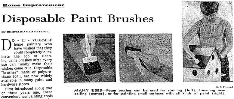 """Disposable Paint Brushes"" article by home-improvement columnist Bernard Gladstone. Newspaper clipping. The New York Times. 27 July 1969. search.proquest.com."