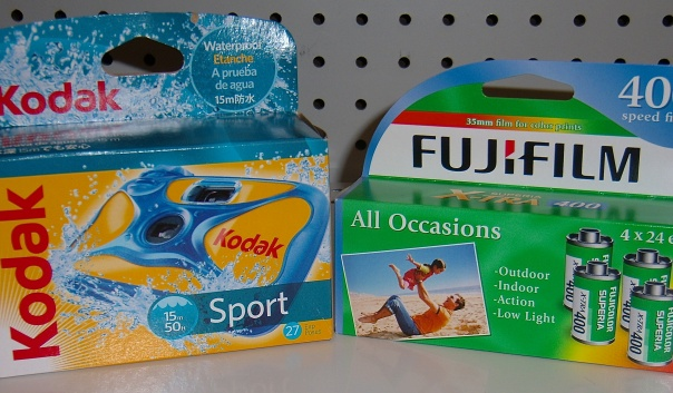 Two disposable cameras, a Kodak Sport and Fuji Quicksnap, for sale at a Walgreens in Newark, DE. Photograph by author.