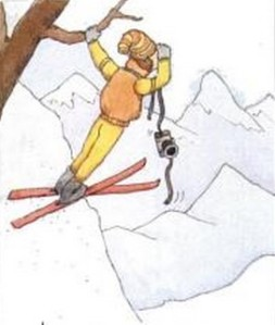 Illustration of skier with camera, Ski magazine, November 1988.