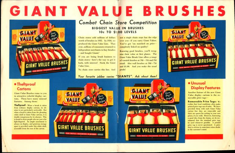 """Giant Value Brushes"" advertisement from a merchandising catalog. Paper. Superkleen Brushes. 1938. Courtesy the Hagley Muesum and Library, .S9626 1938 TRCAT."