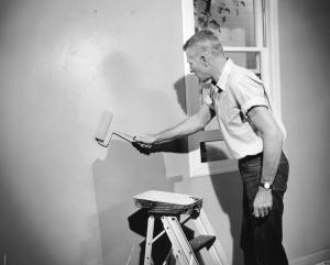 This man tests a Du Pont rubber-based paint with a roller. Photograph. E.I. du Pont Nemours & Company. 1952. Courtesy of the Hagley Museum and Library, digital collections, 1972341_2900.tif.