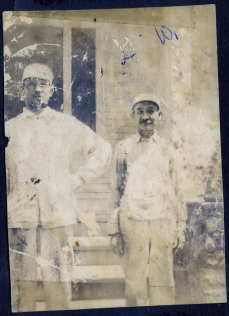 Emil and John Henry Wilkens in their professional uniforms. Photograph. Ca. 1910. The Wilkens Family Collection.