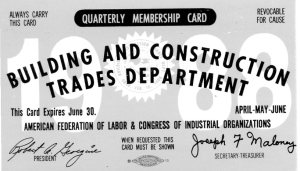 Even after he semi-retired from professional painting, Richard Wilkens remained a card-carrying member of the AFL-CIO. Union card. 1988. The Wilkens Family Collection.
