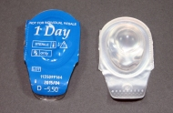 Single use contact lenses, maker unknown, early 2010's. Made from an unknown hydrogel. Collection, Katherine C. Grier.