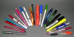 Array of pens and markers, some produced by Sharpie other makers unknown, 2010's. Unknown plastic pen bodies. Collection, Katherine C. Grier.