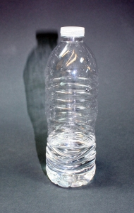 Water bottle, probably American, 2014. Polyethylene terephthalate (PET). Most single-use water bottles are made from this plastic.
