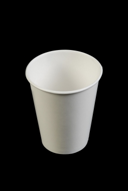 Paper cup, maker unknown, mid 2010's. Made of paper with a thin wax or plastic coating on the interior. Collection, Katherine C. Grier. - (Evan Krape / University of Delaware)