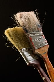 Paint brushes, maker unknown, year unknown. Wooden handle, polyester or nylon bristles, and an unknown metal ferrule. Collection, Katherine C. Grier. - (Evan Krape / University of Delaware)