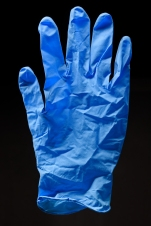 Nitrile gloves, maker unknown, 2000's. Made of nitrile, a synthetic rubber. Collection, Katherine C. Grier. - (Evan Krape / University of Delaware)