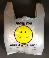 Plastic carrier bag, maker unknown, 2014. High Density Polyethylene (HDPE).