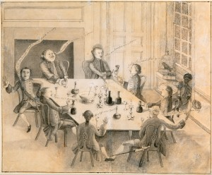Peter Manigault and His Friends, drawn by George Roupell, Charleston, SC, c. 1760.  Winterthur Museum, 1963.73