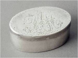 Snuff box of Frederick Muhlenberg, made by John McMullin, Philadelphia, c. 1790.  Private collection; image: The Speaker's House