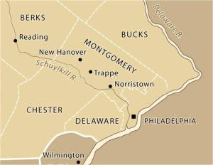 Map of southeastern Pennsylvania with location of Trappe.
