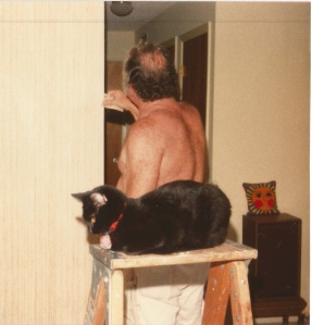 Richard Wilkens and his helper Ziggy prepare to paint a room in Melbourne, Florida. Photograph, ca. 1981. The Wilkens Family Collection.