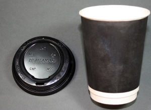 Hot beverage cup and lid, manufacturer unknown. High impact polystyrene (lid) and double wall paper (cup).