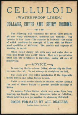 Reverse side of a trade card for celluloid shirt components, with instructions for cleaning with a soap and water. Donaldson Brothers, the printer, had a shop in the Five Points neighborhood of Manhattannow Chinatown