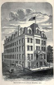 Engraving of the factory and offices of Ray and Taylor, manufacturers of paper goods. Reprinted in Great Industries from the company's trade cards.