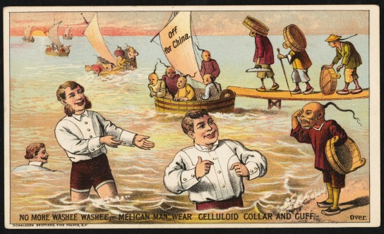 "Trade card for celluloid shirt components, 1880s. Put out of the laundry business by celluloid, Chinese-American immigrants return to their homeland. The racist caption reads: ""No more washee washee—'Melican man wear celluloid collar and cuff."" Meanwhile, American men demonstrate celluloid's waterproof qualities. They represent the new, athletic masculinity that began to erase class distinctions in clothing in the early 20th century. (Courtesy of the Trustees of the Boston Public Library, Print Department)"