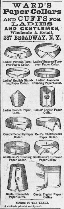 Advertisement for S. W. H. Ward's paper collars. Harper's Weekly (
