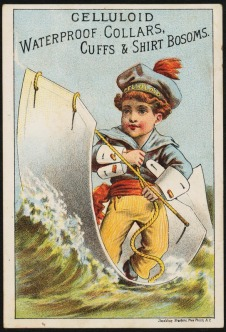 Trade card for waterproof celluloid cuffs, 1880s. The sailor costume and athletic stance reflect an emerging shift in American society. By the twentieth century, men would increasingly identify across classes based on shared ideals of masculinity. (Courtesy of the Trustees of the Boston Public Library, Print Department)
