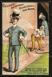 Trade card advertising celluloid collars, cuffs, and bosoms, 1880s. The man's stance, his patterned suit, and the father's displeasure brand him as something of a dandy. But his waterproof celluloid emboldens him to stand his ground. (Trustees of the Boston Public Library, Print Department)