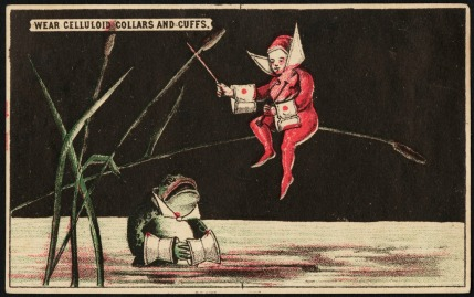 Another trade card for celluloid shirt components. Celluloid was so impervious to water that even frogs could safely wear it. (Trustees of the Boston Public Library, Print Department)