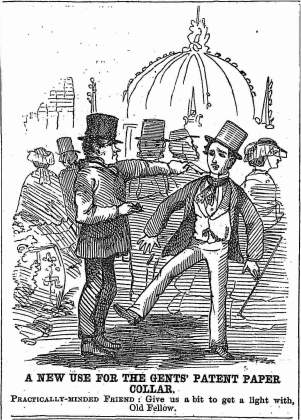 "Cartoon, ""A New Use for the Gents' Patent Paper Collar,"" Melbourne Punch, 15 April 1858."