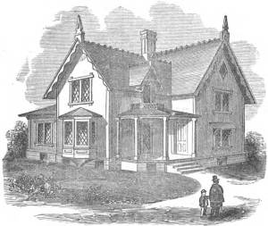 Illustration from Woodward's Country Homes (1865), a design book for middle-class dwellings. A similar house appeared on packaging for the Narragansett Elmwood paper collar in the early 1870s. Like Woodward's remarks on heating efficiency, the message from Narragansett was that cost-effective paper collars were a part of respectable middle-class life.
