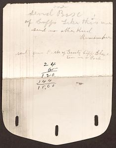 Fragment of a paper cuff, bearing notes by S. C. Fay of the Bay State Paper Collar Company. (Courtesy of the Winterthur Library, Joseph Downs Collection of Manuscripts and Printed Ephemera, Collection 269)