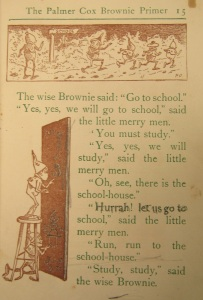 Page of Palmer Cox Brownies Primer, text by Mary C. Judd, illustrations by Palmer Cox. New York: The Century Company, 1923. Joseph Downs of Collection of Manuscripts and Printed Ephemera, Winterthur Museum, Garden & Library.
