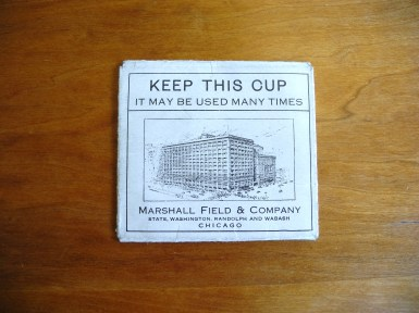 Marshall Field & Company Cup Holder, 1914. (Competitive company product sample. Hugh Moore Dixie Cup Company Collection, Special Collections and College Archives, Skillman Library, Lafayette College.)