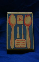 Thirty-two piece wooden silverware set, unknown maker, year unknown. Unknown wood. Collection, Ashley Giordano.