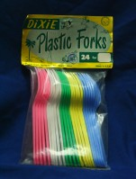 Plastic forks, Dixie, 1960's. Unknown plastic material. Collection, Ashley Giordano.