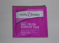 Nail polish remover pads in foil package, Studio35 Beauty, 2016. Foil package and cotton blend wipes. Collection, Kara Yenkevich.