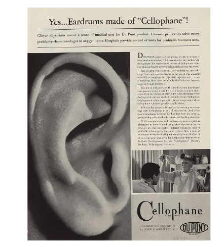 Ad from DuPont showing the power of cellophane in the medical field instead of just the food industry, 1938 (Series I, Box 43, Folder 17, 'Advertising tearsheets - 1938', E.I. du Pont de Nemours & Company Advertising Department records (Accession 1803), Manuscripts and Archives Department, Hagley Museum and Library, Wilmington, DE 19807).