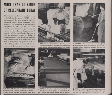 Production process for American cellophane at DuPont shown in a 1947 edition of Better Living magazine (Published Collections Department, Hagley Museum and Library, Wilmington, DE 19807).