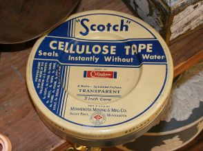 As early as the 1930s, tape manufacturers found a way to use cellophane to create an affordable and clear adhesive that could be used around the household. Date of object pictured unknown. Courtesy of Wikipedia Commons. Accessed May 10, 2018.
