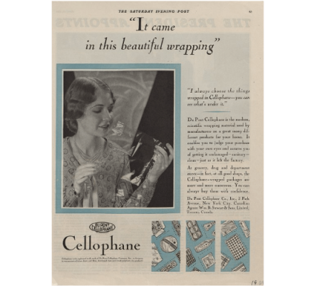 Cellophane convinced this woman to give a product she normally would gloss over a try, 1929 (Series I, Box 43, Folder 9, 'Advertising tearsheets - 1929', E.I. du Pont de Nemours & Company Advertising Department records (Accession 1803), Manuscripts and Archives Department, Hagley Museum and Library, Wilmington, DE 19807).