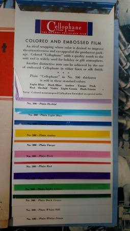 Sales materials for DuPont clients describing different colors of cellophane for purchase and popular mental associations with each color (Box 13, Folder 13, E.I. du Pont de Nemours & Company Lavoisier Library archival collection (Accession 2632), Hagley Museum and Library, Wilmington, DE 19807).