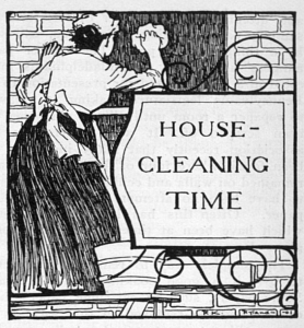 Black and white illustration of a housekeeper cleaning