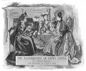Black and white illustration of three women seated at a luncheon with crepe paper decor.