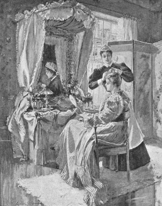 Black and white illustration of a woman at her dressing table with her maid.